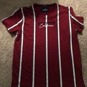 Hollister 100% cotton red stripped tee